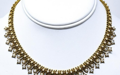 Antique Edwardian 14kt Gold Seed Pearl Necklace