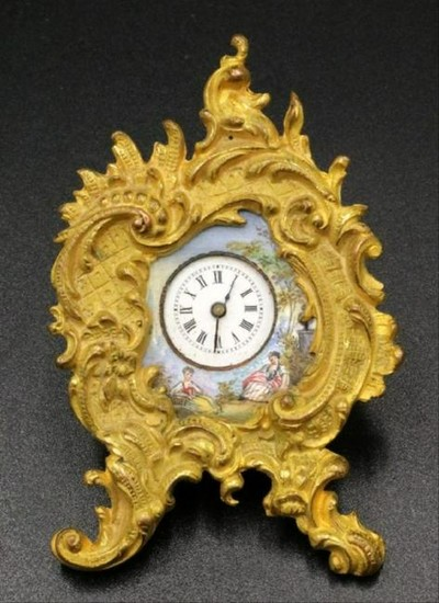 Antique French Dore Bronze & Hand Painted Porcelain