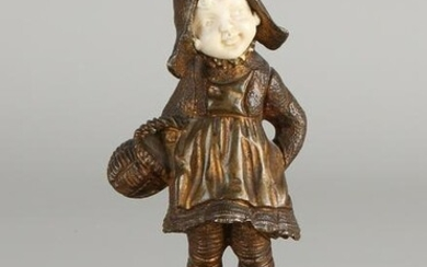 Antique French bronze figure with marble base.