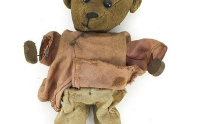 Antique golden teddy bear with straw filled head, 26cm