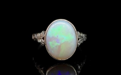 Antique opal and white gold ring solid white opal with flash...