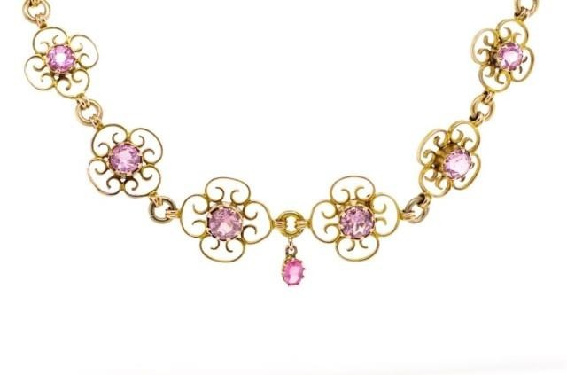 Antique tourmaline and yellow gold bracelet with later chain...