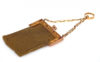 Art Deco. Gold mesh purse with Rubies.