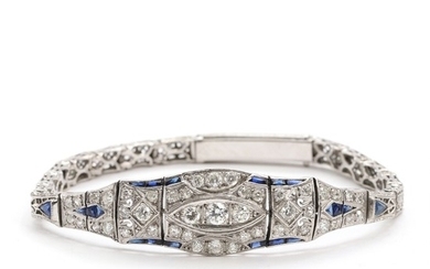 Art Deco sapphire and diamond bracelet, mounted in 14k white gold. L. 18 cm. Weight app. 17.5 g.