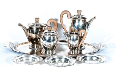 Art-Deco style silver plated metal tea-coffee service comprising...