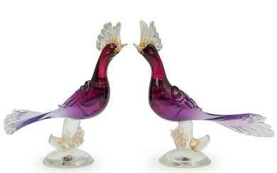 Attrib. Alfredo Barbini Murano Art Glass Bird Figurines