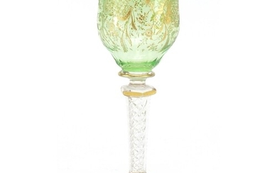 Attributed to Moser, Bohemian cut glass wine glass with gilt...