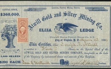 Atwill Gold and Silver Mining Company, Nevada Territory, $200 shares, City of Virginia 186[3],...