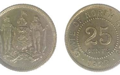 BRITISH NORTH BORNEO Silver 25 cents 1929 (KM 6) AU