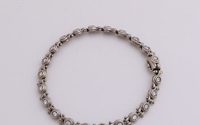 Beautiful white gold bracelet, 750/000, with diamond. A