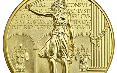 """Britannia, Fine Gold """"Masterpiece"""" Art Medal, 2011, by Robert Evans for the Royal Mint, 310.80g..."""