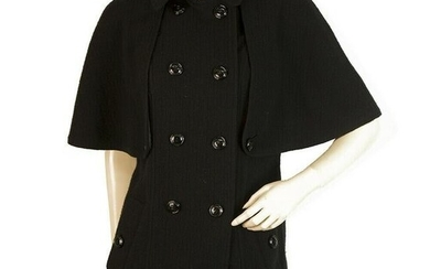 Burberry Black Virgin Wool & Cashmere Belted Trench