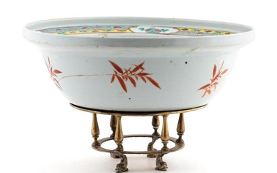 CHINESE EXPORT PRECIOUS OBJECT PORCELAIN WASH BOWL