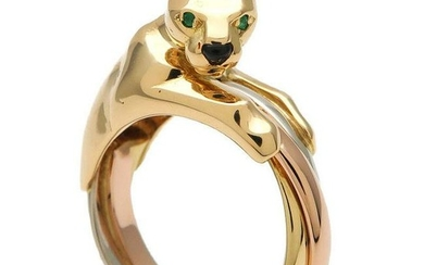 Cartier 18K Trinity Gold Panthere Ring Sz 54