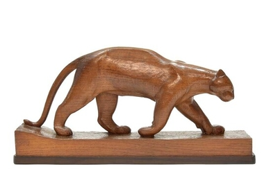 """Carved oak sculpture """"Panther"""", design & execution by..."""