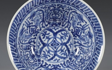 China, blue-white porcelain 'dragons' bowl, 18th century, decorated...