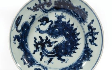 Chinese Blue and White Porcelain Dragon Dish