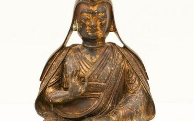 Chinese Seated Monk Parel Gilt Bronze