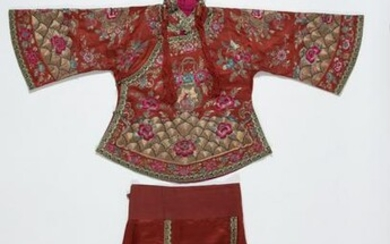 Chinese silk & metal thread embroidered wedding dress