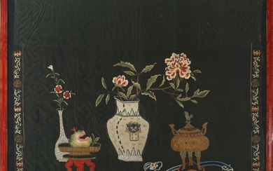 Chinese silk hanging, embroidered in colours and metal thread with still life. Late Qing, 19th century. Visible size 78×97 cm.