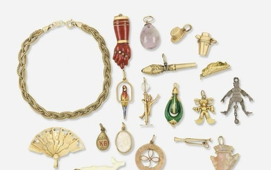 Collection of antique charms with bracelet