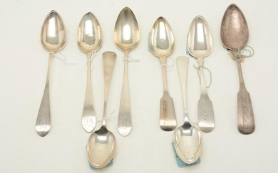 Colonial American coin silver tablespoons, c. 1800.