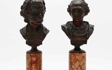 """Columbus"" and ""Carlos Gomes"", a pair of bronze busts with marble bases, late 19th Century."