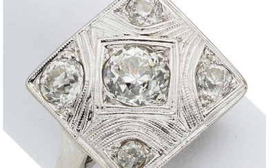 Diamond, White Gold Ring The ring features an Old...