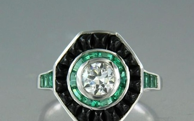 Diamond ring with emerald and onyx