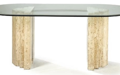 Dining table on two polyhedral marble legs and chrome