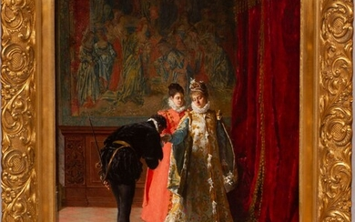 """FRANCESCO JACOVACCI (FRENCH, 1838-08), OIL ON BEVELED MAHOGANY PANEL, 1874, H 22"""", W 17"""", A FORMAL INTRODUCTION"""