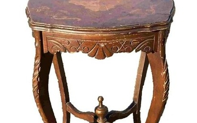 FRENCH INLAID CARVED SIDE TABLE