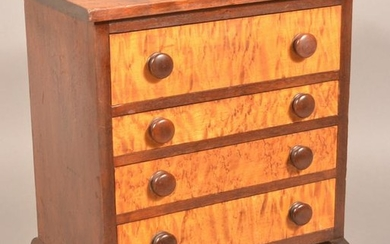 Federal Walnut & Bird's Eye Miniature Chest of Drawers.