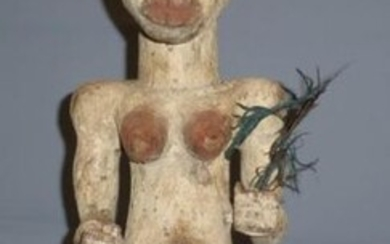 Female figure, Tsogho (Gabon), red and white pigmented wood, feather, (woodworm attacks) - H. 61 cm