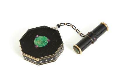 Fine Art Deco enamel, gold and gemstone vanity case, by Cartier