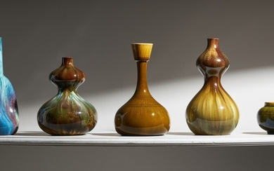 Five pottery vases designed by Christopher Dresser, late 19th century