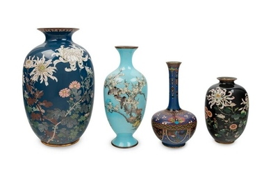 Four Japanese Cloisonne Enamel Decorated Vases
