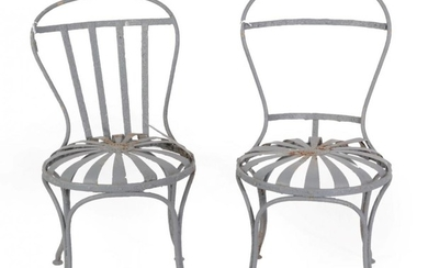 François A Carre: A Pair of Steel Sprung Garden Chairs,...