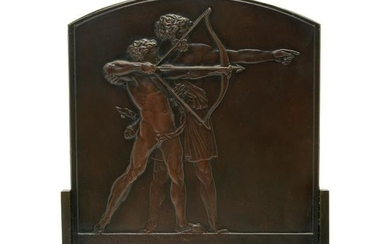 French Art Deco Style Bronze Arch-Shaped Plaque by