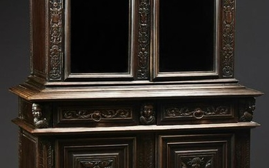 French Provincial Carved Walnut Buffet a Deux Corps
