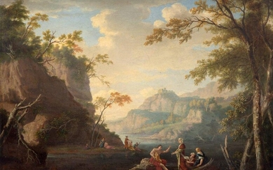 French school, 18th century, Vast landscape with figures...