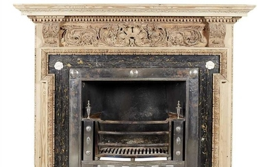 GEORGE III STRIPPED PINE AND MARBLE FIRE SURROUND AND POLISHED STEEL REGISTER GRATE 18TH CENTURY
