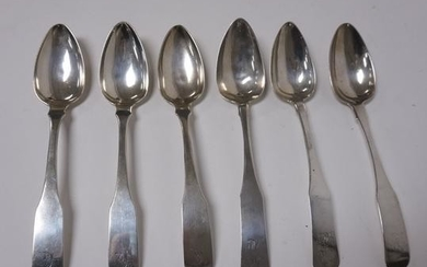 GRP OF 6 COIN SILVER SERVING SPOONS VARIOUS MAKERS