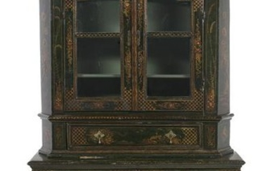 George II Polychrome and Chinoiserie Cabinet