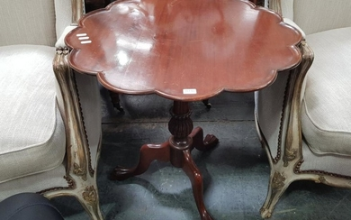 Georgian Style Mahogany Scalloped Top Occasional Table, on turned pedestal with paw feet
