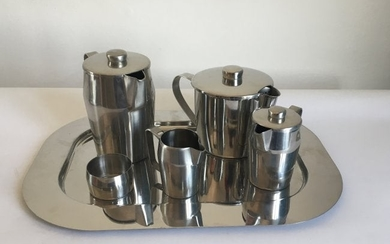 Gio Ponti Tea Set Steel for Sambonet, 1970