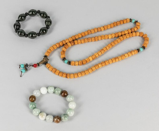 Group of Chinese Jade & Seed Necklace