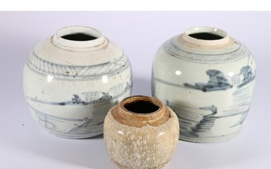 Group of three Chinese ginger jars, two provincial blue and ...