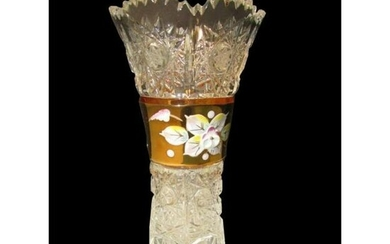 Handcrafted Czech Caesar Crystal Enameled Vase