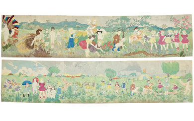 Henry Darger (1892-1973), Untitled (188 at Jennie Richie Everything is all right with abatement of storm / 189 at Jennie Richie Heading for manley camp), double sided